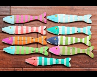 Wooden Fish Nautical Fish Decor - Reclaimed Fish - Reclaimed Picket Fence Fish