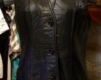 1980's fine nappa leather long vest. Size M.