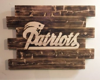 New England Patiots wood sign