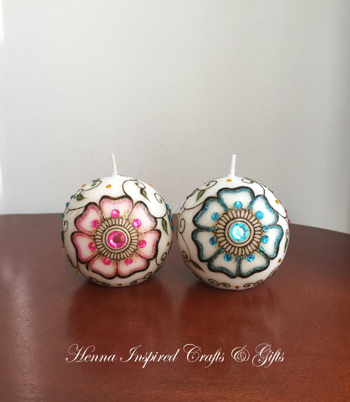 decorative candles moroccan decor boho decor henna candles thank you gift - Decorative Candles
