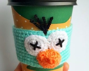 Coffee Cozy Bird Face, Coffee Sleeve, Crochet Cozy , Java Jacket, Travel Drink Cup Holder, Bird Sleeve, Animal Cozy