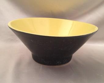 Black bowl yellow interior,Black ceramic bowl with yellow interior,Yellow bowl,black bowl,yellow interior bowl
