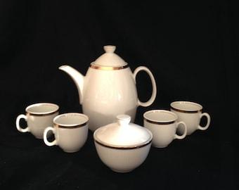 Vintage CP German Coffee Tea Pot Demitasse Set Made in German Democratic Republic, German Republic CP White gold trim ceramic tea set