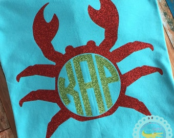 Plus Size Womens Crab Shirt With Monogram Beach Tops With Monogram, Womens Plus Size Nautical Personalized Top, Comfort Colors, Just for Her