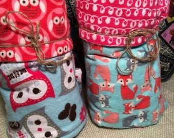 Owl and Fox Receiving Blankets set of 2. Handmade baby blankets 35X35 inches 100% cotton Flannel
