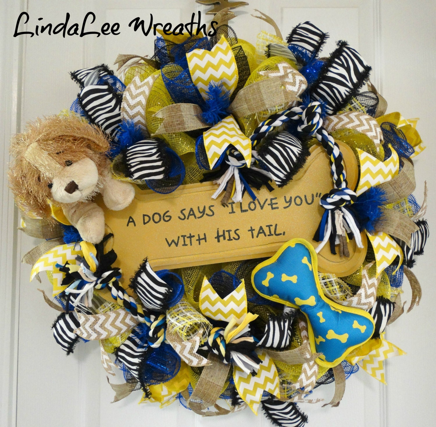Deco Mesh Dog Wreath In Black Blue And Yellow Pet Themed
