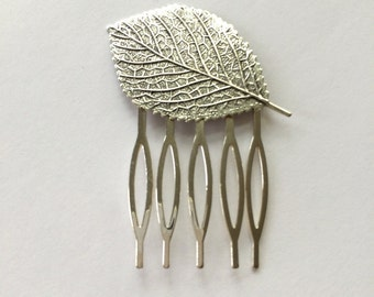 Silver Aspen Leaf Hair Comb Birch Leaf Hair Pin Bridal Hair Comb Woodland Wedding Hair Accessories Bridal Hair Pin Silver Hair Comb
