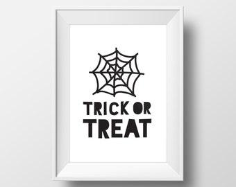 Trick or Treat, Printables, Halloween Print, Instant Download, Halloween Art, Trick or Treat Print, Halloween Home Decor, Halloween Poster