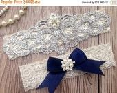 ON SALE Navy Blue Garter - Wedding Garter - Lace Wedding Garter - Pearl Garter - Bridal Garter - Rhinestone Garter - Ivory Lace Garter - Gar