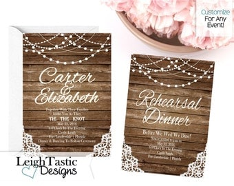 Lantern, Wood Lace Invitation- Wedding Wood and Lace -Save the Date- Rehearsal Dinner- Birthday Party -Vintage Party Invite Engagement