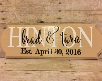 Last Name Established Sign | Personalized Family Wood Sign | Wedding Gift | Engagement Gift | Mothers Day | Bridal Shower | Anniversary Gift