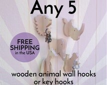 Wall hooks - Pick any 5: handmade, paintable wooden animal hooks or hangers - great for kids' rooms and safari theme nurseries