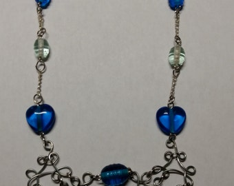 Wire wrapped blue beaded chain necklace