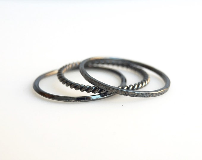 Blackened Sterling Silver Knife Edge, Hand Hammered and Rope Stackable Rings (set of 3)