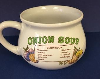 Onion Soup Recipe Bowl, Soup Bowl, Bowl, Vintage Bowl, Recipe Bowl, Mug, Collector, Collectibles