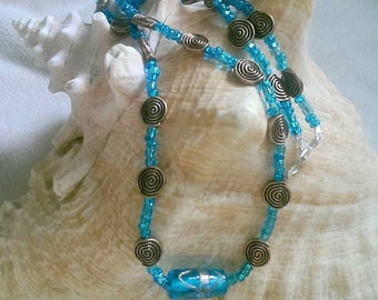Blue Glass Lampwork Beaded Necklace