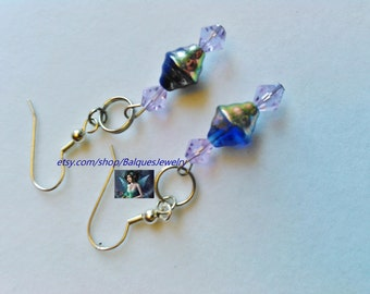 Blue and Silver Earrings  E#17  One Of A Kind!