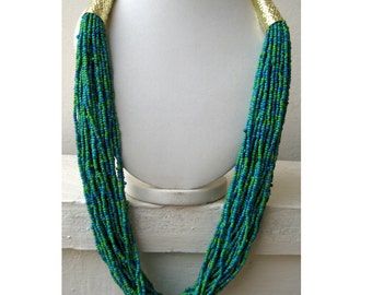 Statement Necklace/Long Necklace/Chunky Necklace/Bib Necklace/Beaded Necklace/Blue and Green Necklace/Beaded Jewelry