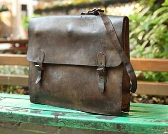 Vintage  Large leather bag   ,Yugoslav Military Courier leather bag 70'
