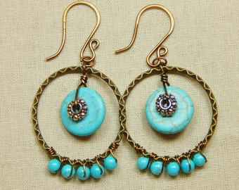 Turquoise & Antique Gold Hoop Earrings (E5)