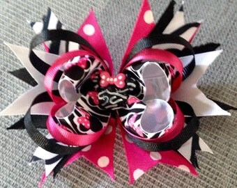 Minnie Mouse Stacked Boutique Hair Bow.