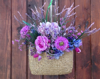 Altered Purse, Vintage, Door, Wreath, Colorful, Flowers, Purple, Green, Pink, Lilac, Straw
