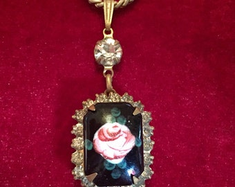 Vintage hand painted rose and rhinestone necklace.