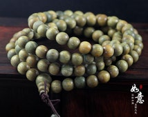 108 Natural 10mm Green Sandalwood Palo Santo Beads Meditation Japa Mala Prayer Beads Necklace