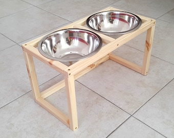Wood Raised Pet Feeder, Dog feeding station, Dog Feeder made of spruce wood with two elevated stainless steel food bowls
