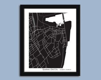 Old Quebec City map, Quebec City city art map, Quebec City wall art poster, Quebec City decorative map