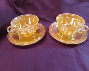 Fire King Peach Luster Coffee Set with 3-Ring Design