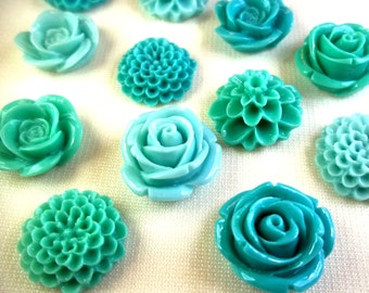 6 Teal Cabochon Flower Magnets