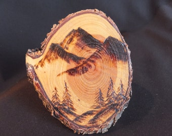 Mountains with Pine Trees, wood burning
