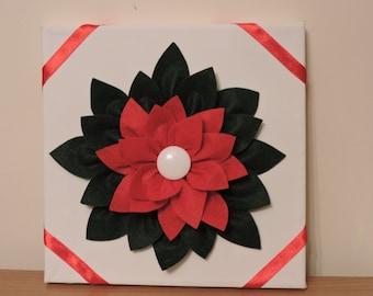 Poinsettia flower canvas