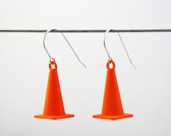 3D PRINTED Traffic Cone Earrings