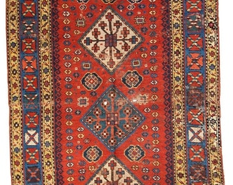 SALE 15% OFF 4.1' x 6.9' ( 127cm x 211cm ) hand made antique Caucasian Kazak rug 1860