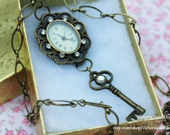 Elegant Victorian Clock and Key Necklace