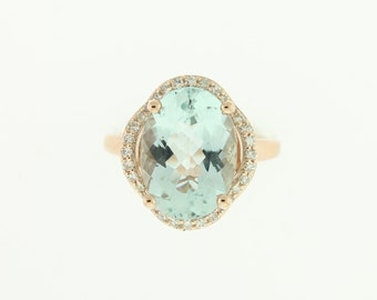 Unique Aquamarine & Diamond Gold Ring  #84646-12x10