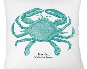 nautical pillow, beach house throw pillow, crab pillow, crab throwpillow