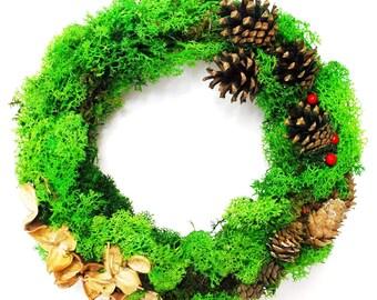 natural green moss wreath