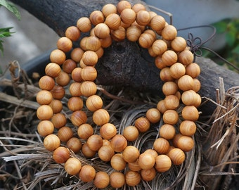 8mm Natural Aromatic Sandalwood Thuja Sutchuenensis Beads 108 Mala Beads Buddhism Prayer Loose Mala Beads