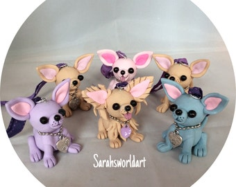 Chihuahua hanging models, hand sculpted from polymer clay, various colours available .