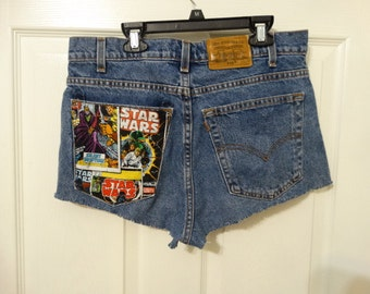 upcycled Levi's denim short, waist 32, Star Wars patch,  star wars fan, blue, black,yellow, red, white, short length