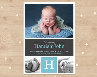 Baby Boy Birth Announcement (Digital File) - I custmise for you to print. Blue and Grey multiple photo card. Personalised with Photo.