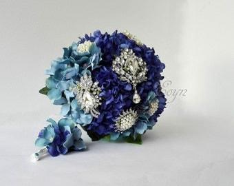 Blue hydragea bouquet-hydragea Turquoise Blue Brooch Bouquet. Crystal Bridal Broach Bouquet,BLUE BROOCH BOUQUET