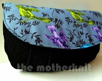 Birds and spots pleated denim clutch bag, evening party handbag
