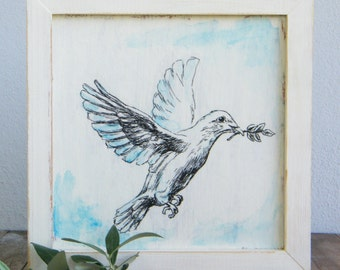Framed picture, White dove sketch, Print on wood, Biblical wall art, Wood signs, Framed art, Shabby chic, Rosh Hashana