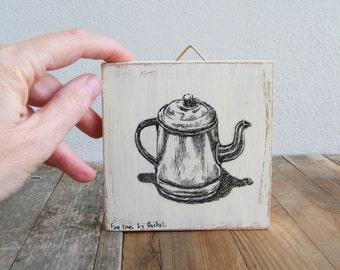 Miniature picture, Antique teapot print, print on wood, Rustic wood signs, Kitchen decor, Hipster wall decor, Retro decor, Christmas gifts
