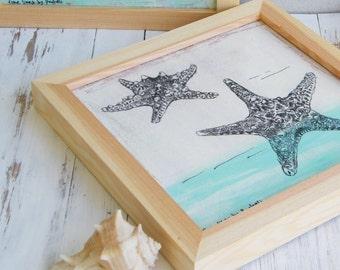 Nautical Wall Art, Boho Chick, Starfish Print, Sea Life Print, Bedroom Decor, Wood Sign, Nautical Print, Dorm Decor, Rustic Wood Sign