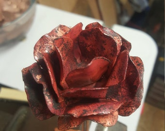 Copper Roses with Red Patina